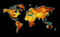 Map of world on fire Royalty Free Stock Photos