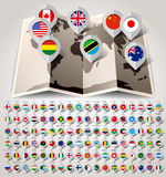 Map world with flags. Big paper set Stock Photos