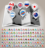 Map world with flags Stock Images