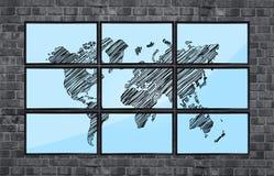 Map of world on flat panels Royalty Free Stock Photos