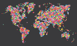 Map world flowers Royalty Free Stock Image