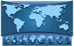 Map of the world and globes. Map of the world and  globes, illustration Stock Image