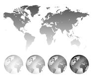 Map of the World and globes Stock Photography