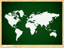 Map world on Green board with wooden frame Royalty Free Stock Images