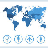 Map World icon great for any use. Vector EPS10. Stock Photos