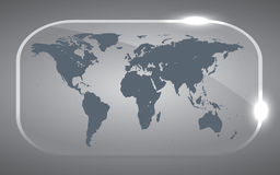 Map world. Illustration of a world map in 3D glass design Royalty Free Stock Photos