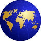 Map of the world illustration on globe grid vector illustration