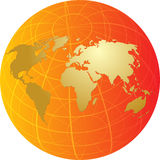 Map of the world illustration on globe grid Stock Images