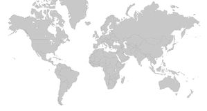 Map Of The World - Illustration - Grey, Silver Stock Photo