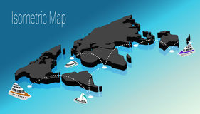 Map world isometric concept. 3d flat illustration Royalty Free Stock Photography