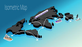 Map world isometric concept. 3d flat illustration Stock Photography