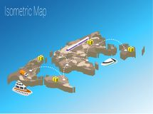 Map world isometric concept. 3d flat illustration Stock Images