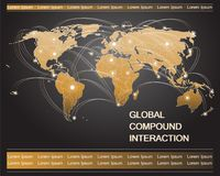 Map of the world with luminous dots and trajectories. Royalty Free Stock Photo