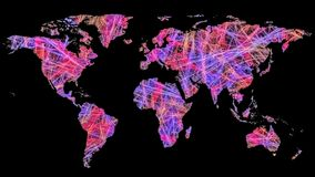 Map of world made of colorful connections royalty free stock image