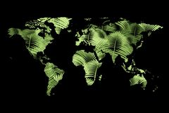 Map of world made of green connections royalty free stock images
