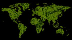Map of world made of green connections stock photos