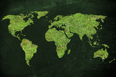 Map of the world made of green grass, concept of ecology and gre. Environmental awareness and green economy: illustration with map of the world made of green Stock Photos
