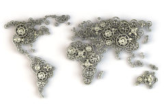 Map of the world from metallic gears. Global economy connections Royalty Free Stock Image