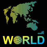 Map World mosaic  perspective and word world Royalty Free Stock Images