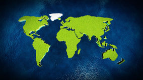 Map of the world in the ocean Royalty Free Stock Photo