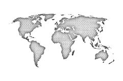 Map of the world on old linen Stock Photo