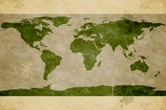 Map of the World. Old paper texture Stock Photography