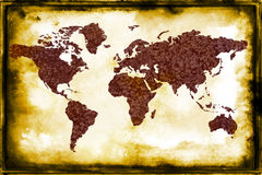 Map of the World. Map of the World with paper texture and a grunge effects Stock Images