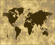 Map of the world on parchment. An old map of world on grungy fading parchment Royalty Free Stock Photography