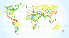 Map of the world people. Flat style. Vector illustration Stock Images