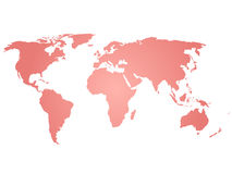 Map of World. Pink silhouette vector illustration with gradient on white background Royalty Free Stock Photography