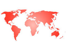 Map of World. Red silhouette vector illustration with gradient on white background Royalty Free Stock Photos