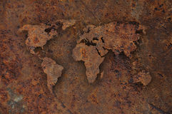 Map of the world on rusty metal Stock Photography
