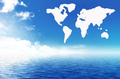 A map of the world on the sea Royalty Free Stock Photos
