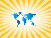 Map world on sunburst Royalty Free Stock Photos