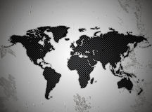 Map of the world in the texture of the metal lattice Stock Photo