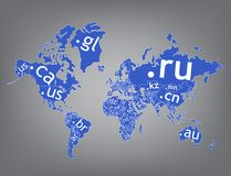 Map of the world top-level domain Stock Photo
