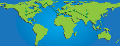Map of world with trading paths and points Royalty Free Stock Photo