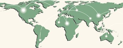 Map of world with trading paths and points. Map of world with trading paths between points A and B. Vector illustration Stock Images