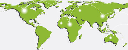 Map of world with trading paths and points. Map of world with trading paths between points A and B. Vector illustration Royalty Free Stock Image