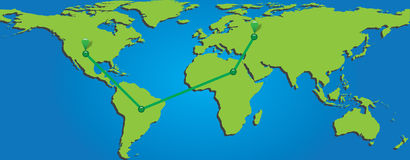 Map of world with trading paths and points Royalty Free Stock Photography