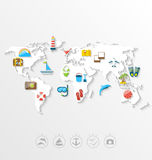 Map of World Travel Concept, Simple Colorful Flat Icons Royalty Free Stock Photo