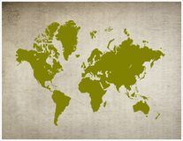 Map of World. A vintage map of the world Royalty Free Stock Photo