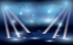 Map of the world on the wall and lights - eps Stock Photos