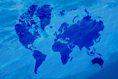 Map of the world and water Royalty Free Stock Images