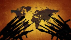 Map of the world with weapons. World on the brink of war stock video footage