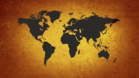 Map of the world with weapons. World on the brink of war. Hot spots of the planet stock footage