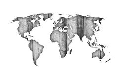Map of the world on weathered wood Royalty Free Stock Image