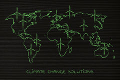 Map of the world with wind turbine all over, green economy Stock Photos