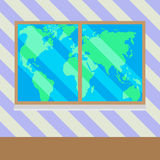 Map of  world from window vector Royalty Free Stock Photography