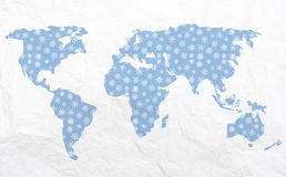 Map of the world in winter - for Christmas vector illustration